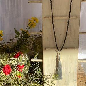 Black Seed Bead Tassel Necklace